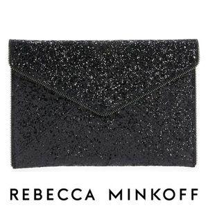 Rebecca Minkoff Black Glitter Leo Clutch NWOT